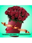 Букет из бордовых роз в шляпной коробке