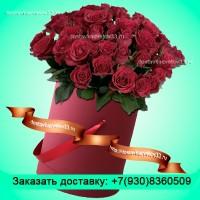 """Букет из бордовых роз в шляпной коробке """"Биение сердца"""""""