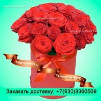 """Букет из бордовых роз в шляпной коробке """"Красота любви"""""""