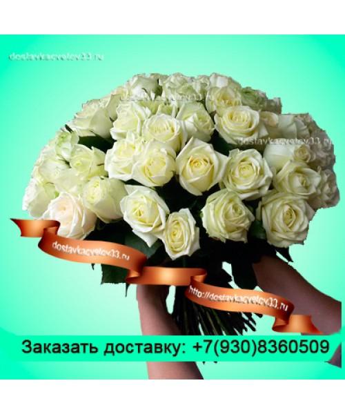 """Букет из белых роз """"Хрустальный замок"""""""