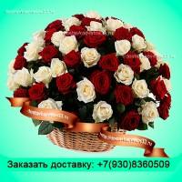 """Букет из красных и белых роз в корзине """"Время любви"""""""
