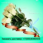 7 белых элитных роз(70см)